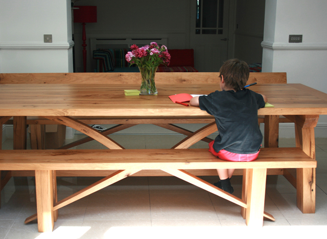 Bespoke oak table and benches