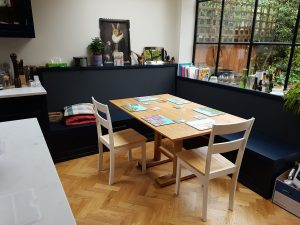 Oak dining table with turned legs, london