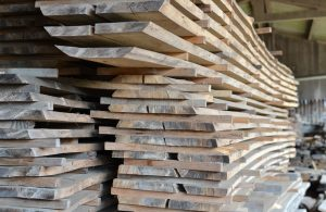 Oak planks stacked