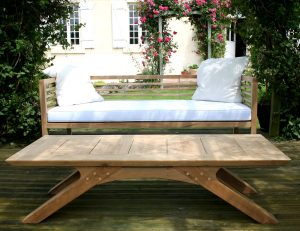 Arch Leg Coffee Table and Loire Garden Bench - Bespoke handmade garden Furniture from Makers