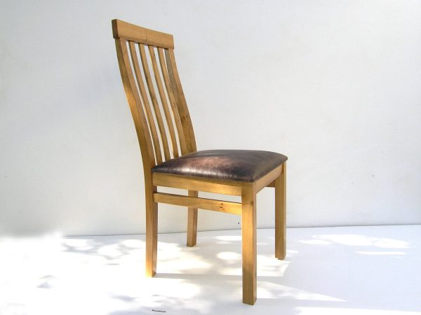 OAK HIGH BACK DINING CHAIR WITH LEATHER SEAT