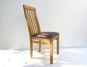 Bespoke Oak Dining Chair with Leather Seat