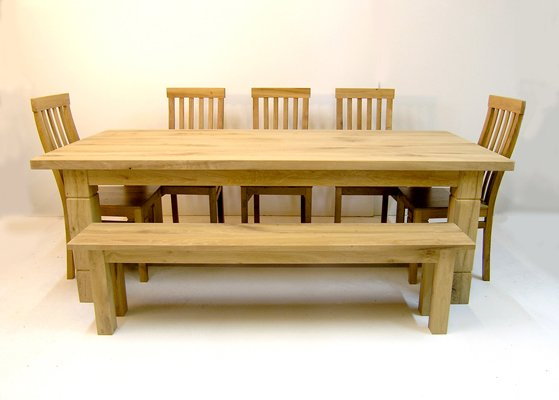 Bespoke oak refectory table and chairs