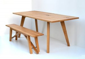 Bespoke dining table and bench by Makers bespoke furniture