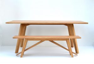 Oak dining table and bench handmade