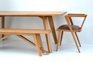 Chiswick oak dining table and bench handmade by Makers Bespok Furniture