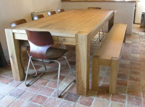 Contemporary oak dining table and bench