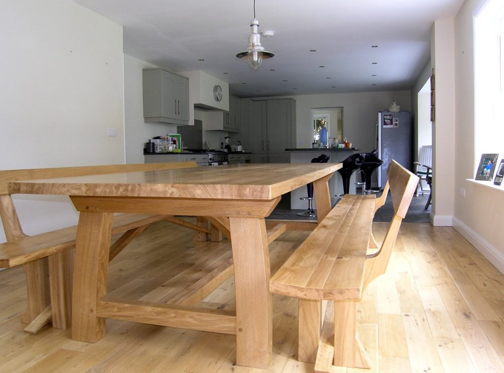 Handmade Dining Benches Bespoke Oak Benches With Backs