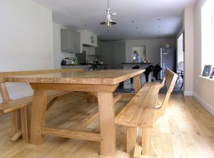 Contemporary refectory table and benches with backs