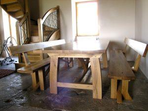 Bespoke French oak dining table