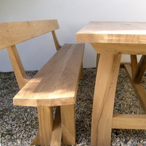 Contemporary refectory table with zen bench