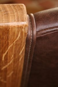 oak leather upholstered dining chair