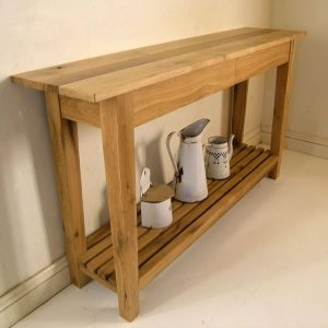 Simple Oak Console Table with concealed drawers