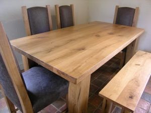 Handmade oak dining table and bench