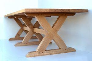 Sawbuck cross leg oak dining table