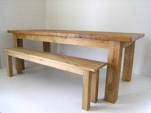 Bespoke oak dining bench handmade