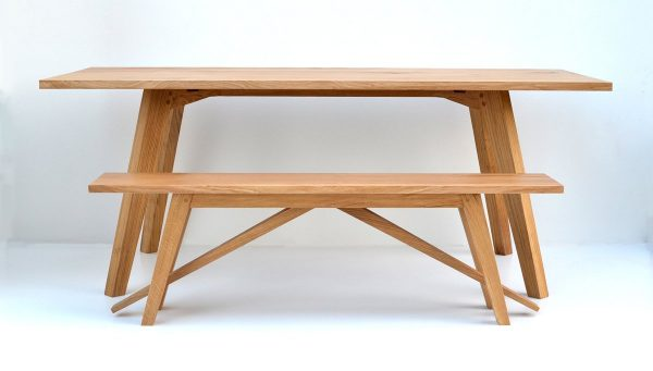 Chiswick Oak Dining Table and bench handmade
