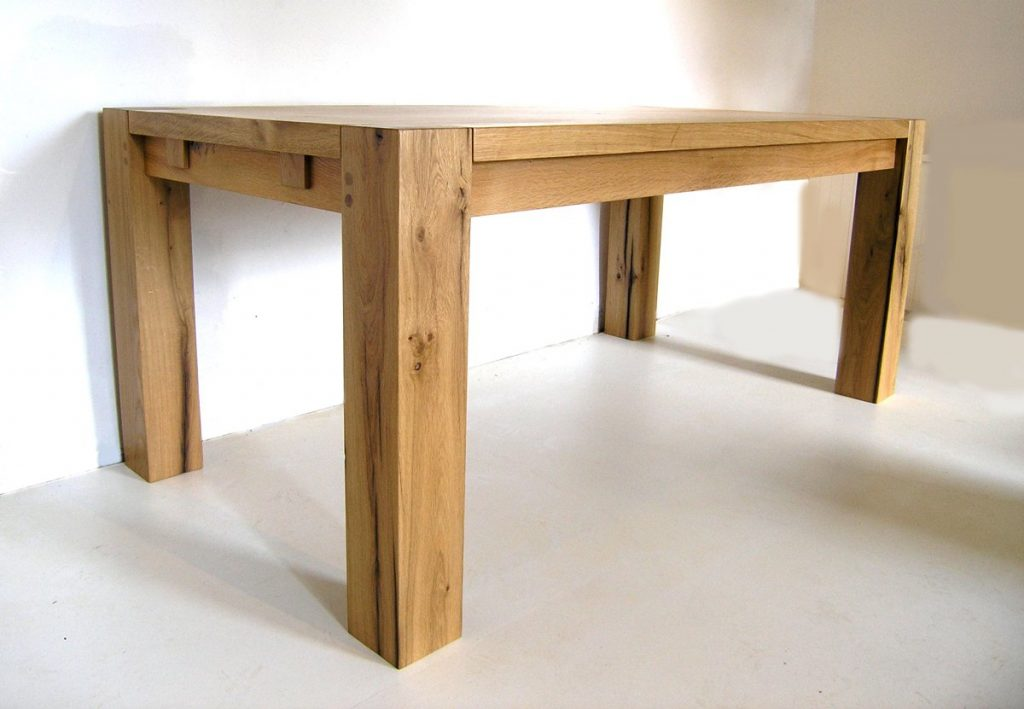 Contemporary bespoke oak dining table french oak table for Modern oak dining table