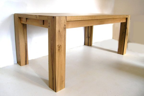 Contemporary bespoke oak dining table