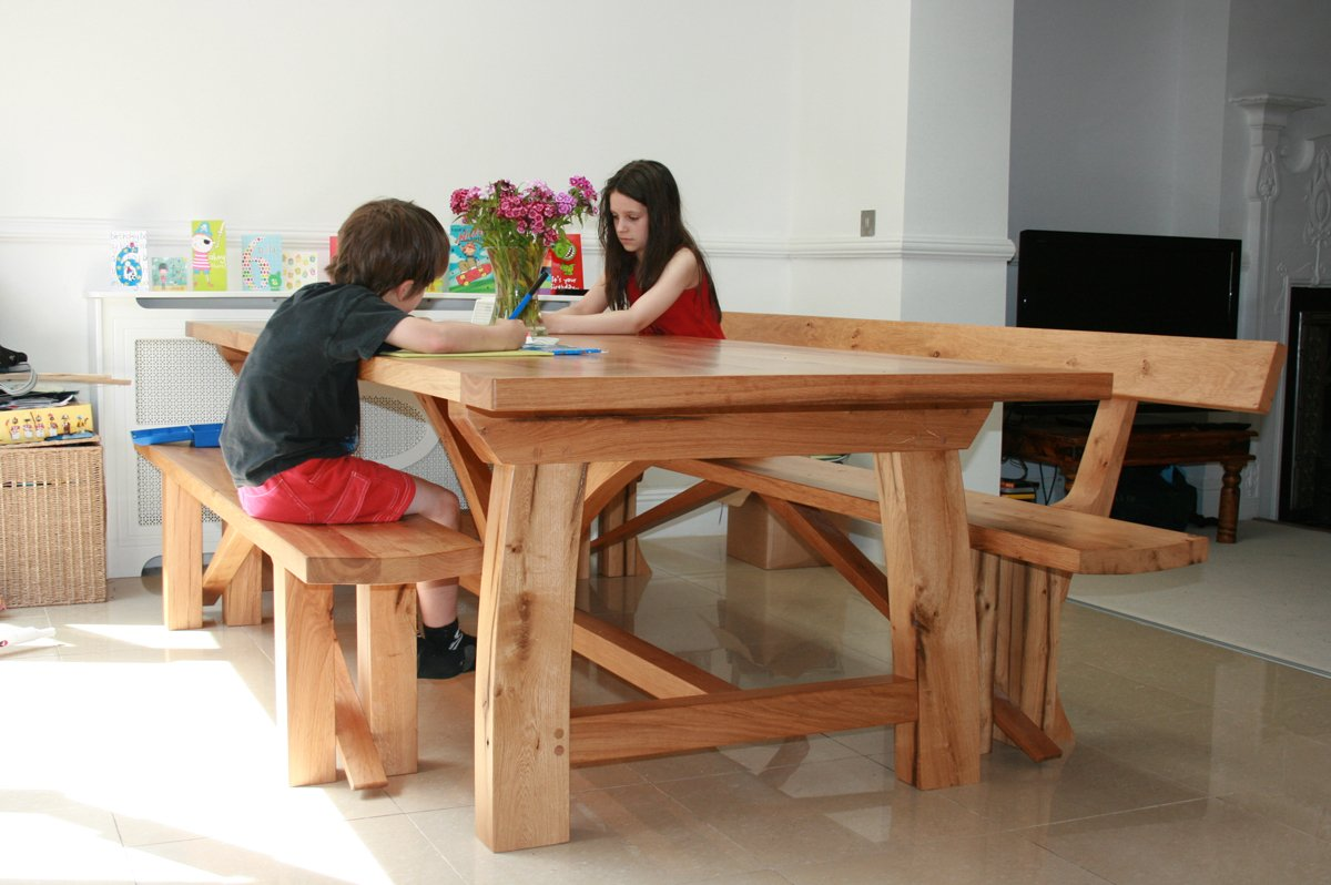 Contemporary Oak Refectory Table Makers Handmade Tables