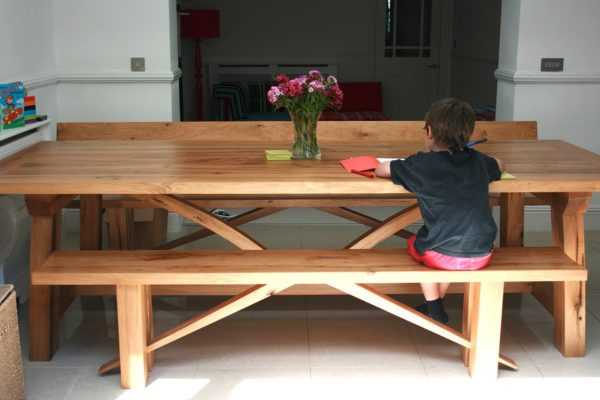 Oak Zen Dining Bench and Contemporary Refectory Table