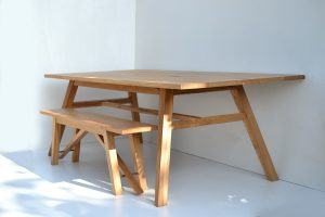Handmade oak dining table by Makers Bespoke Furniture France