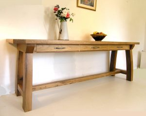 Large oak console table with 3 drawers