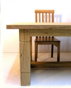 oak high back dining chair with refectory table