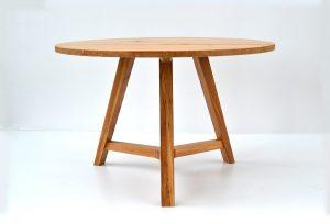 Handmade round oak dining table