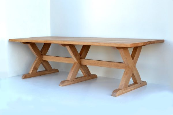 Sawbuck bespoke oak dining table