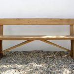 Oak zen dining bench with back
