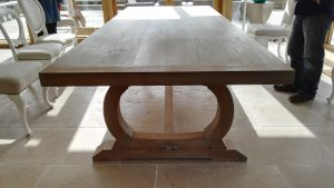 Curved base oak refectory table