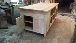 kitchen island with shaker doors