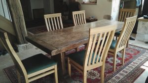 Makers oak dining chairs with 17th century table