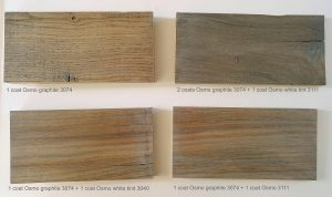 Osmo graphite samples on wood