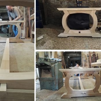Handmade table in progress in the workshop