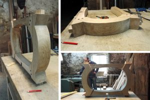 Bespoke oak table base on the workshop bench
