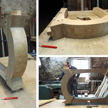 Bespoke oak table base on the workshop bench
