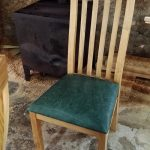 Bespoke oak chair with green leather seat