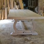 Bespoke oak refectory table with curved base