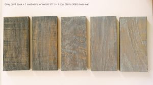 Osmo oil white tint finish samples
