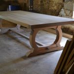 Large curved base refectory table