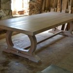 Large refectory table with curved bade in the Makers workshop