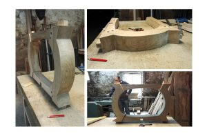 Curved table base on the work bench