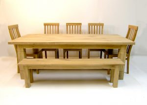 Bespoke oak refectory table and oak dining chairs
