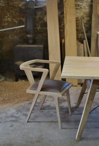 Oak zen dining chair with hooper dining table