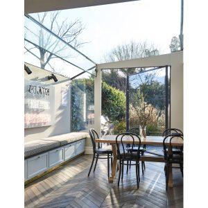 Sawbuck oak dining table for London