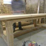 Handmade oak refectory table in the Makers workshop