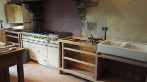 Oak kitchen unit on delivery day