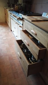 Lacanche cooker with oak kitchen units